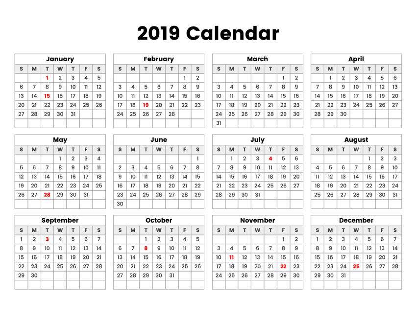 Année calendrier 2019 vacances