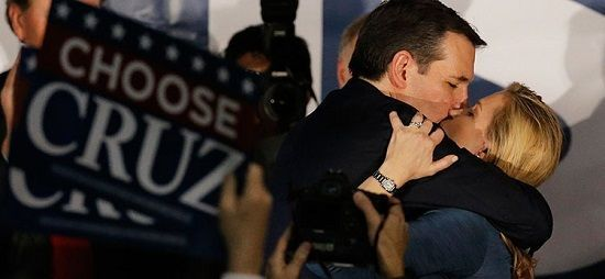 Ted Cruz with his wife after the Iowa voting results