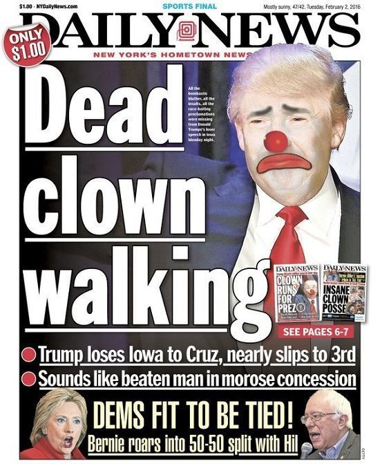 NY Papers celebrate Trump's defeat in Iowa